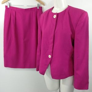 Vintage 80s 90s Skirt Suit Size 12 Hot Pink Woven